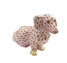 Herend Porcelain Fishnet Figurine of a Dachshund